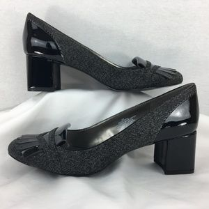 Bandolino Black Gray Tweed Heels Pumps 9 NWOT
